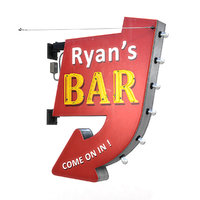 3D retro bar sign model