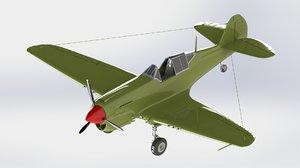 3D model curtiss p-40 warhawk