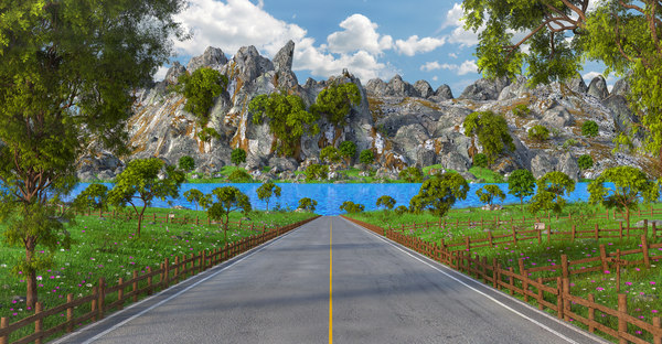 road landscape lake 3D model