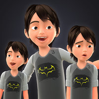 toon boy characters 3 3D model
