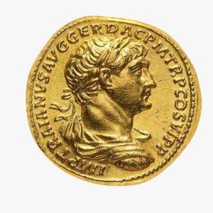 3D roman gold coin