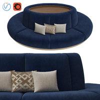 3D banquet seating 003 sofa model