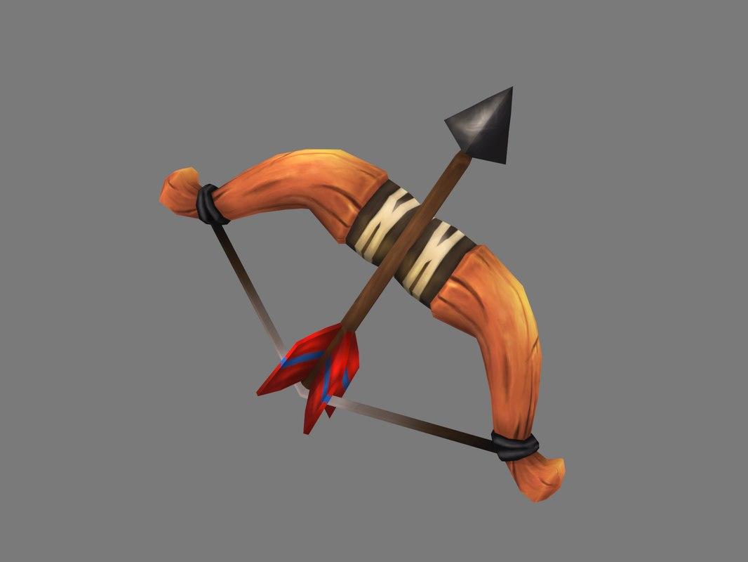 3D wooden bow arrow model