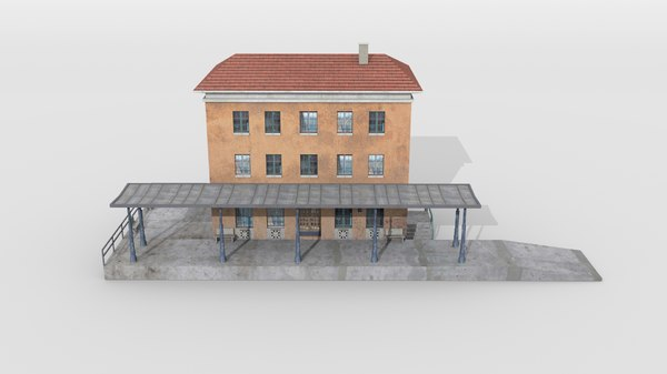 3D bavarian town railway station model