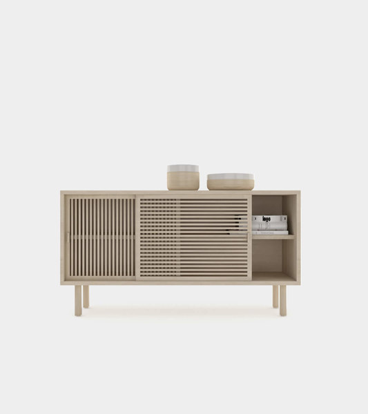 3D wooden sliding door sideboard