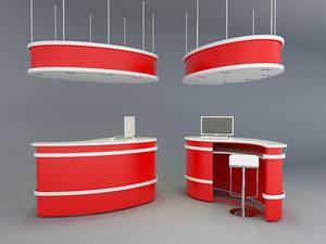 3D reception desk model