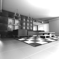 3D model living black white luxury