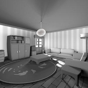 living black white cartoon 3D model
