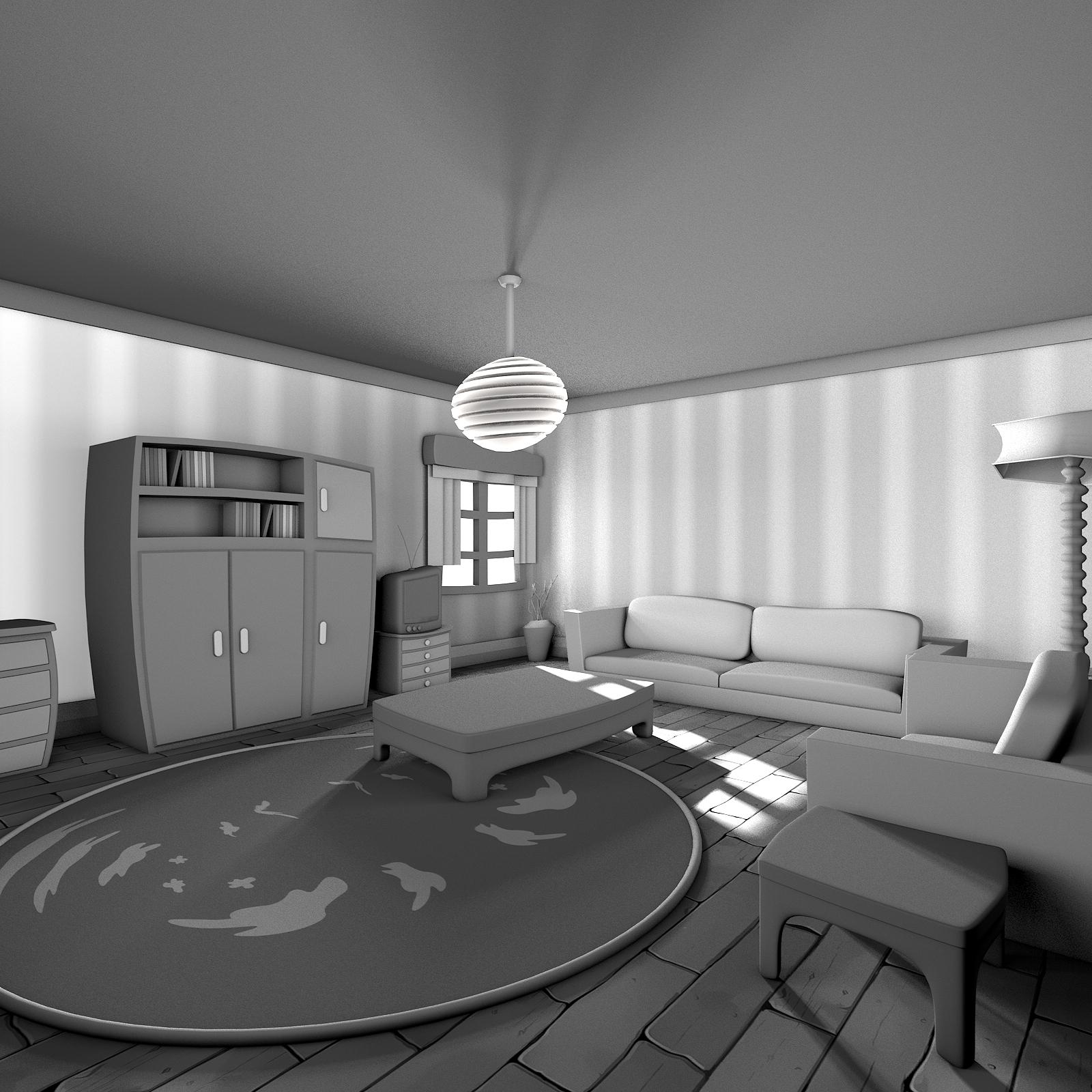 Schwarzweiss-Karikatur-Wohnzimmer