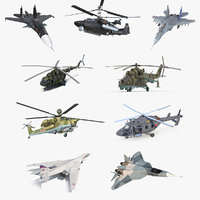 Rigged Russian Military Aircrafts 3D Models Collection