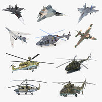 Rigged Russian Military Aircrafts 3D Models Collection 2