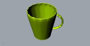 3D chrysanthemum flower ceramic cup model