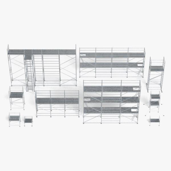 3D scaffoldings set pbr model