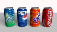 Coke Sprite Fanta Pepsi Cans