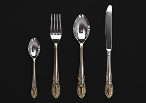 cutlery spoon fork 3D model