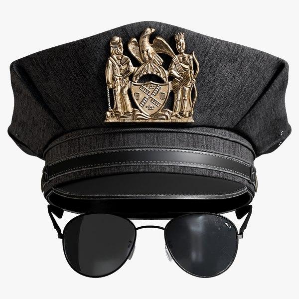 3D police cap sunglasses