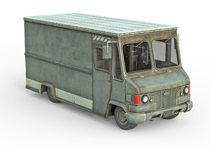 low-poly old generic van model