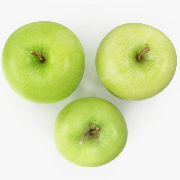 3D apple granny smith 02-04