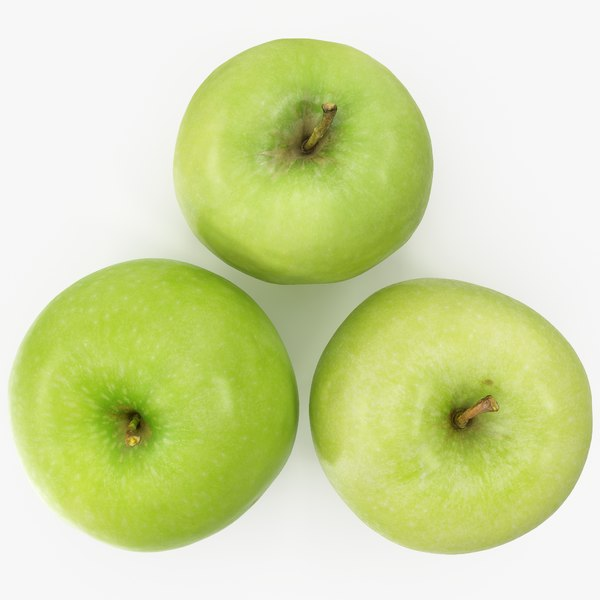 3D apple granny smith 02-