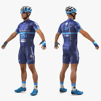 3D athlete cyclist blue rigged model