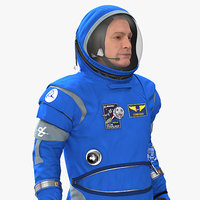 Astronaut Wearing Boeing Spacesuit Rigged for Cinema 4D 3D Model