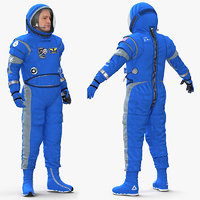 Astronaut Wearing Boeing Spacesuit Rigged for Maya 3D Model