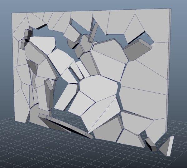 wall destruction 3D model