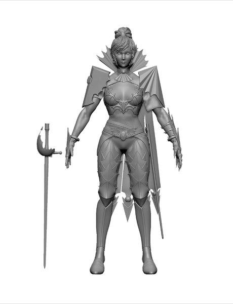 3D female vampire assassin