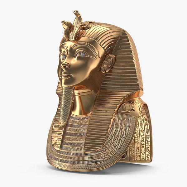 3D model gold mask tutankhamun