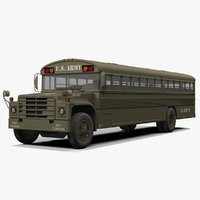 3D army bus rigged