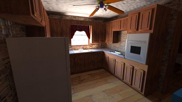 3D dining kitchen room model
