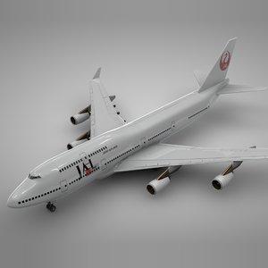 boeing 747-400 jal l108 3D model