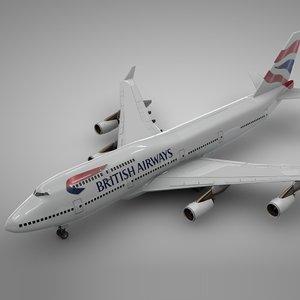 3D boeing 747-400 british airways model