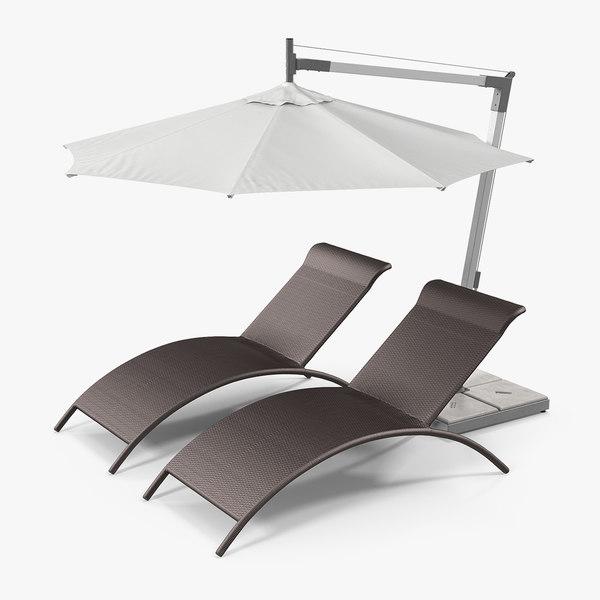 3D sun lounge chairs umbrella model