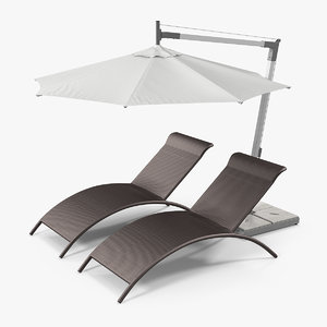 3D sun lounge chairs umbrella model