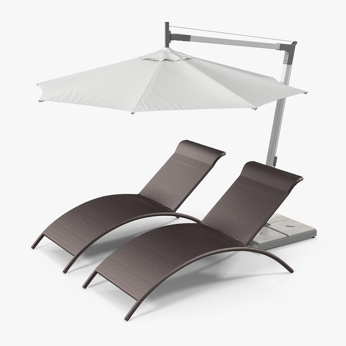 Sun Lounge Chairs Umbrella Model