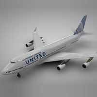 3D boeing 747-400 united airlines model