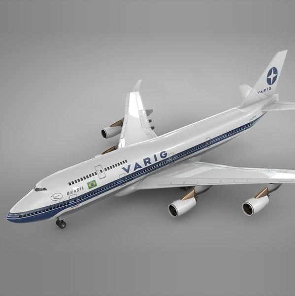 boeing 747-400 varig l117 3D model