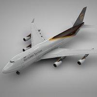 3D boeing 747-400 ups l115