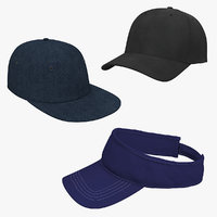 Baseball and Sunvisor Caps 3D Models Collection