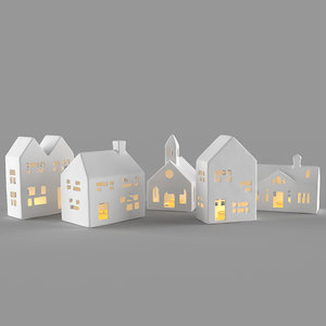 3D white ceramic houses candle model