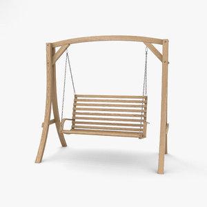 3D wooden swing chair