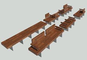 parametic exterior bench 3D model