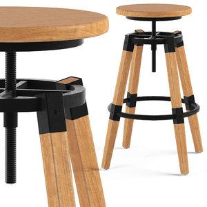 cult furniture bastille stool 3D model