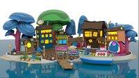Cartoon Theme island Beach house SET