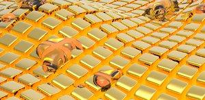 3D model gold golden fluid wallpapers