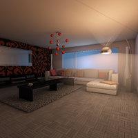3D visuals living elegant room model