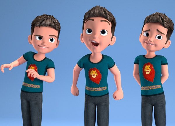 3D toon child - rigged characters model