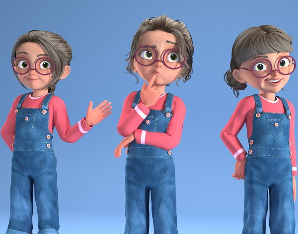 toon girl - child characters 3D model