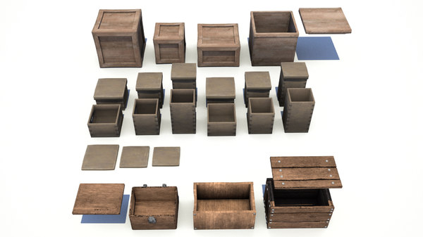 3D pack wooden crates boxes